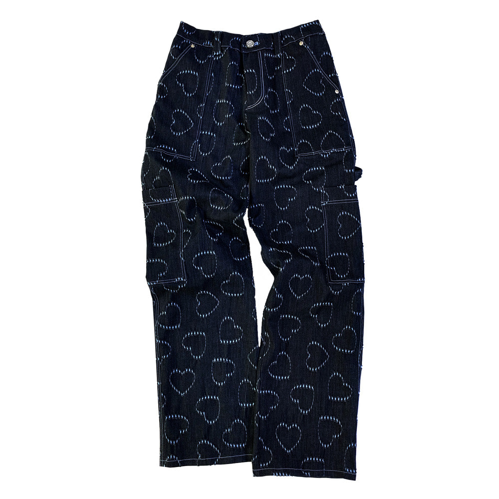 Heart denim cargo pants