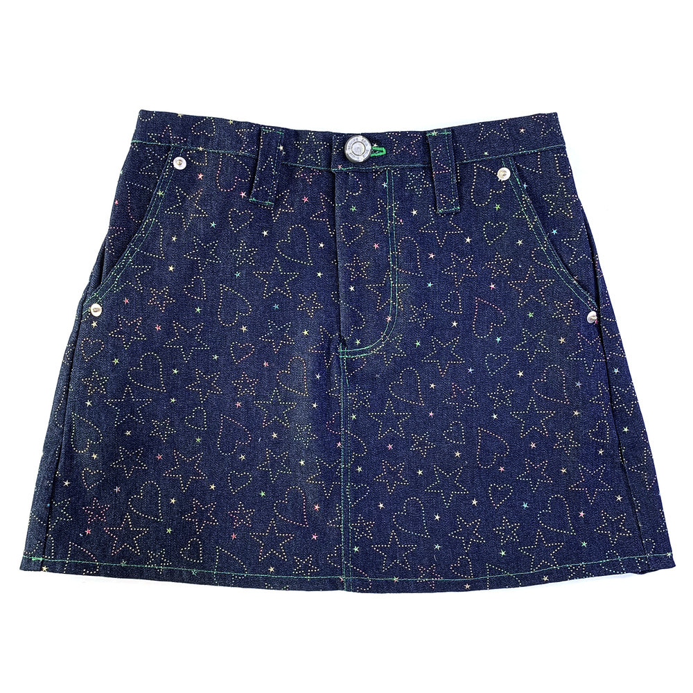 Heart&star denim skirt (Rainbow)
