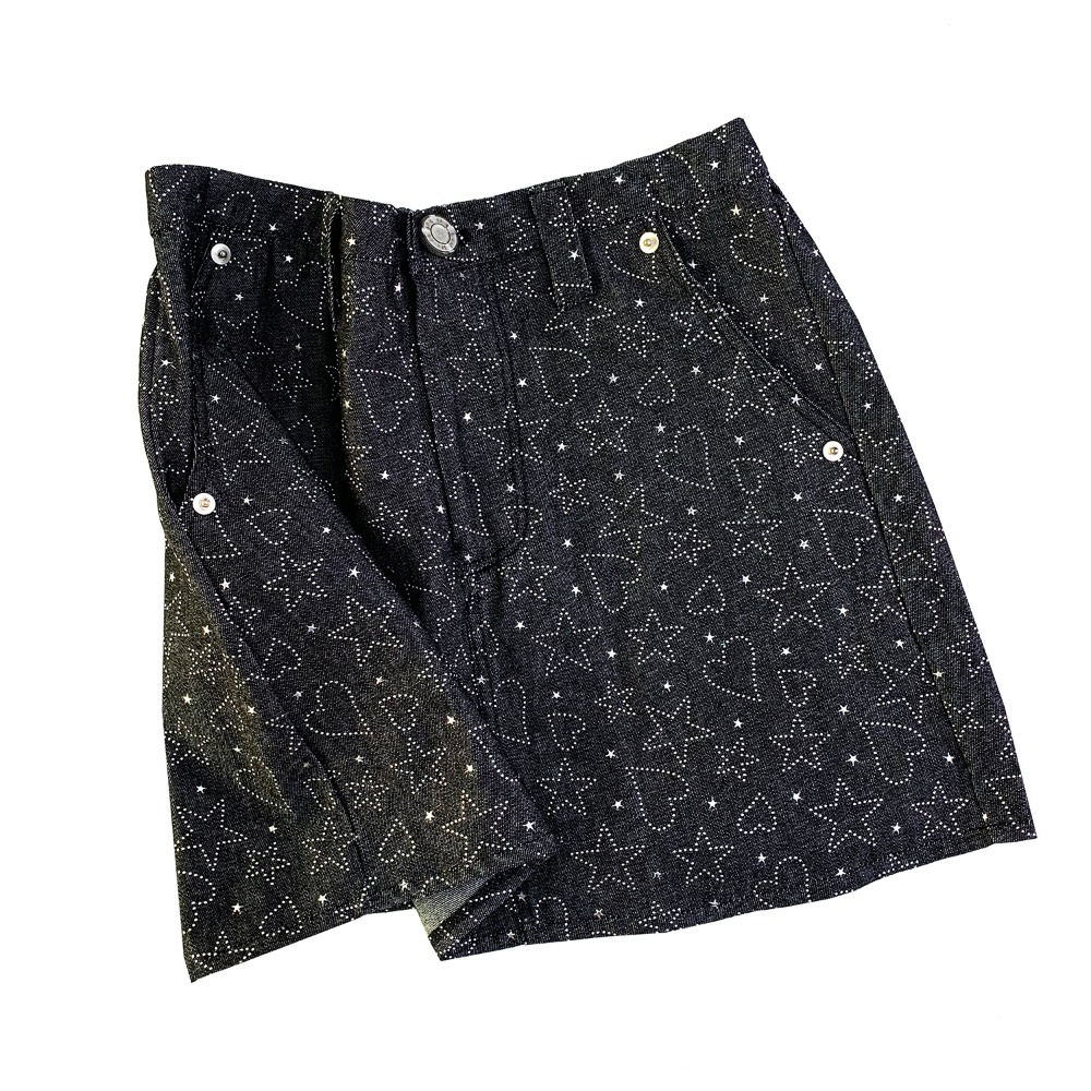 Heart&star denim skirt (Black)